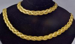 Braided Gold Bracelet & Necklace Set.