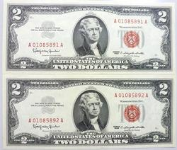 2- Gem Crisp 1963 $2 Red Seal Notes-Exceptional Quality