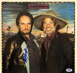 Willie Nelson Signed Poncho & Lefty Album Cover AFTAL U
