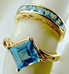 Colorful Pair of Blue Topaz 14K Rings