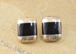 Rectangular Banded Onyx Inlay Earrings Silver