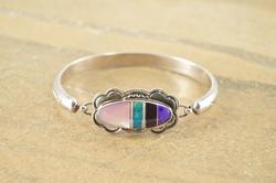 Native American Style Inly Bangle Bracelet Silver