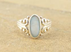 Blue Mother Of Pearl Inlay Tiered Scroll Ring Silver