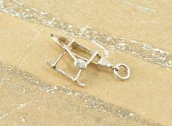 3D Style Articulated Canoe Paddle Boat Charm Silver