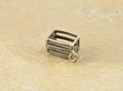 California Cities Ornate 3D Etched Crate Charm Silver