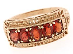Orange Sapphire and Rose Gold Band