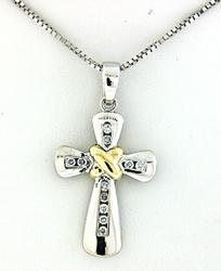 Two Tone Cross Pendant Necklace with Diamonds