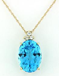 14.75 CTW Blue Topaz & Diamond Pendant
