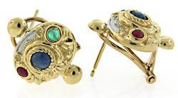 Etruscan Style Earrings w/ Rubies, Emeralds & Sapphires