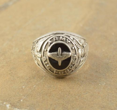Us Army Class Rings: US Air Force Army Eagle Men's Class Ring Silver