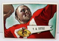 Rare Y.A. Tittle 1952 Bowman Football Card