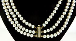 Triple Stand Pearl Cocker Necklace, Gold & Diam Clasp