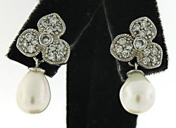 Pearl Flower Earrings Sterling Silver