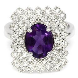 Exquisite 7x9mm Amethyst pre-set in sterling silver