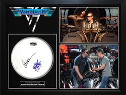 Alex & Wolfgang Van Halen VanHalen Autographed Drumhead