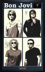 Bon Jovi Jon Richie Sambora Plus Band Autographed Litho