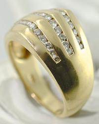 Channel Set 14K Diamond Dome Ring