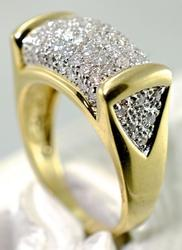 Exciting Modern 14K Diamond Cluster Ring