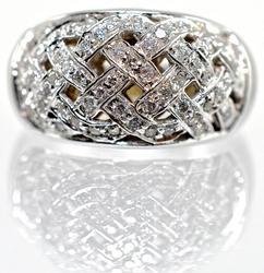 14K White Gold Diamond Cluster in a Woven Design
