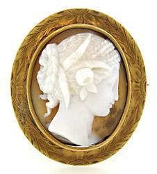 Vintage Shell Carved Cameo Brooch in 12K