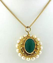 Vintage Pearl & Green Chrysoprase 2 Sided Pendant Neck