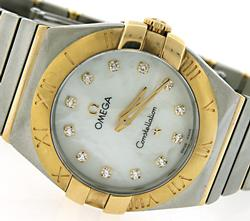 Ladies Two Tone Omega Constellation with Diamonds