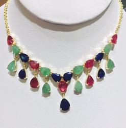 Must See! 14kt Gold Precious Gemstone Necklace