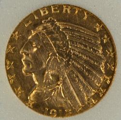 Sharp-looking 1912 US $5 Indian Gold Piece
