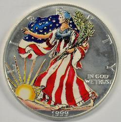 Gem BU 1999 'Colorized' $1 American Silver Eagle