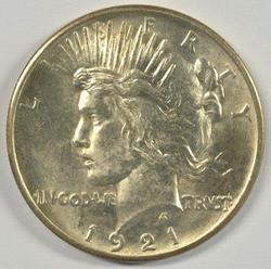 Lovely BU 1921 Peace Silver Dollar. Key date