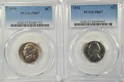 Super Gem PRF 1950 & 1952 Jefferson Nickels. PCGS PR67
