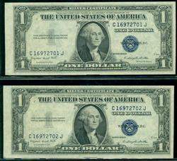 2 Consecutive Gem CU 1935-G $1 Silver Certificates