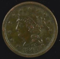 Razor-sharp 1845 Braided Hair Large Cent in XF.