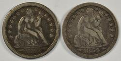 1853 and 1854 with Arrows Liberty Seated Dimes