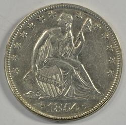 Extremely high grade 1854 Arrows Seated Liberty Half