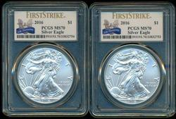 2 Perfect 2016 First Strike $1 Silver Eagles. PCGS MS70