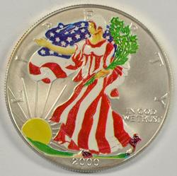 Year 2000 'Colorized' $1 American Silver Eagle
