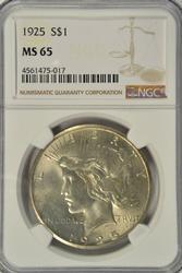 Super Gem BU 1925 Peace Silver Dollar. NGC MS65