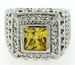 Citrine and Crystal Sterling Silver Ring