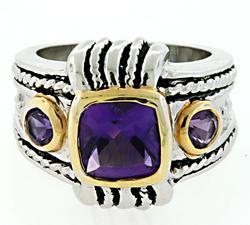 Heavy Sterling Silver Amethyst Ring