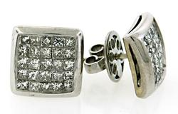 Square Diamond Cluster Earrings at 2.50 CTW