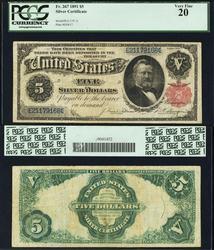 Scarce $5 1891 Fr. 267 Silver Certificate PCGS 20