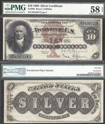 $10 1880 Black Back, Amazing Color PMG58 EPQ, FR288