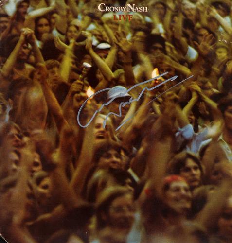 Graham Nash Autographed Signed Live Album Cover AFTAL U