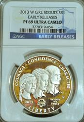 2013-W Girl Scouts Silver Dollar PF69UC Early Release