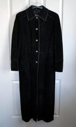 Cripple Creek Women's Long Black Leather Coat Size S