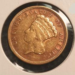 1854 US Gold $3.00 Indian Princess Circulated