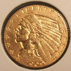 1909 US Gold $2.50 Indian Circulated