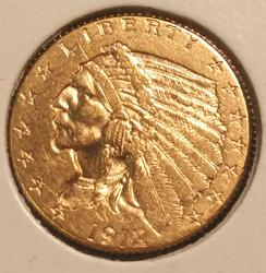 1912 US Gold $2.50 Indian Circulated