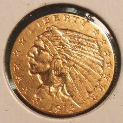 1915 US Gold $2.50 Indian Circulated